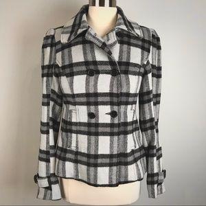 Sound & Matter black and light gray plaid jacket